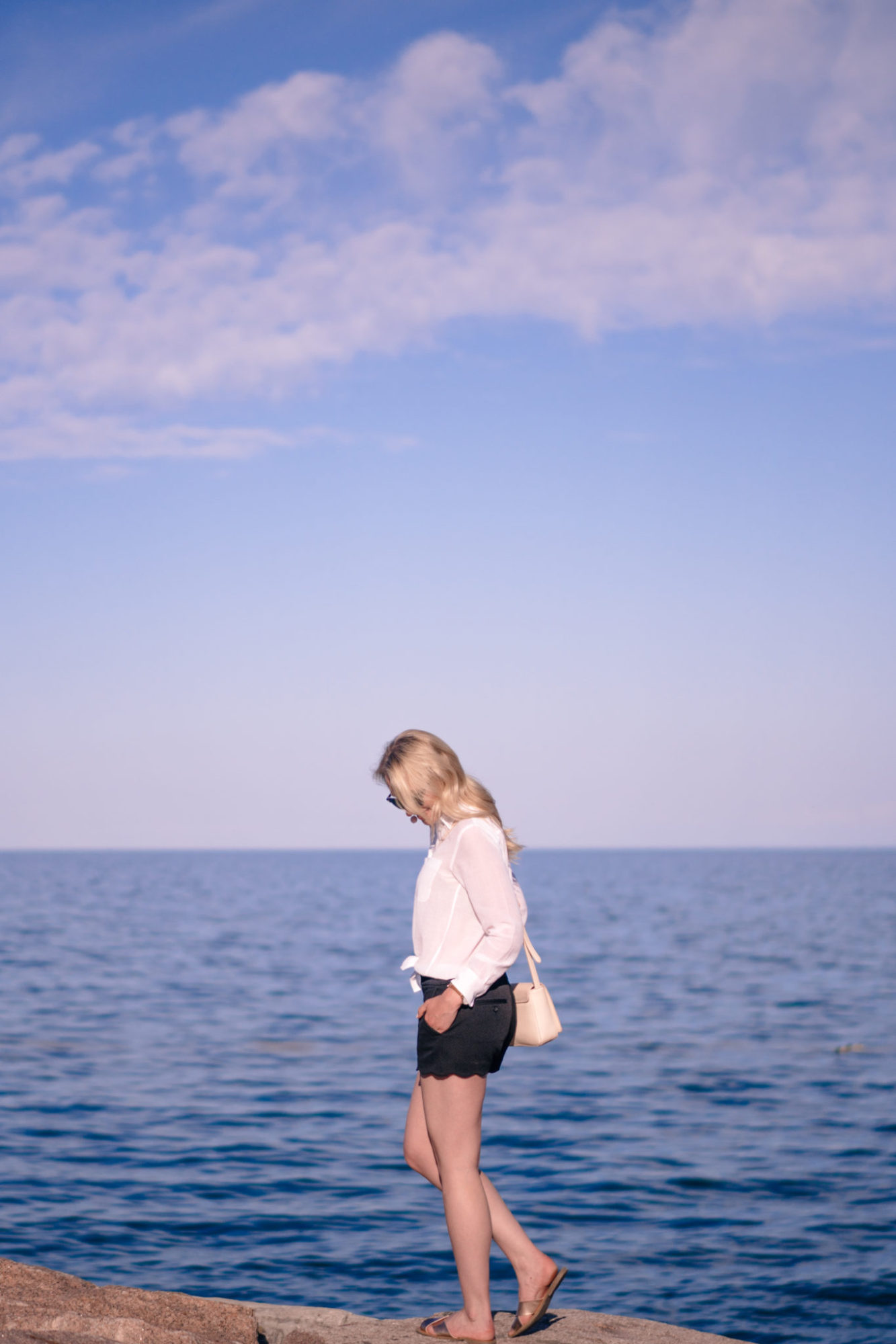 Classic Waterfront Summer Style - Black Shorts, White Blouse