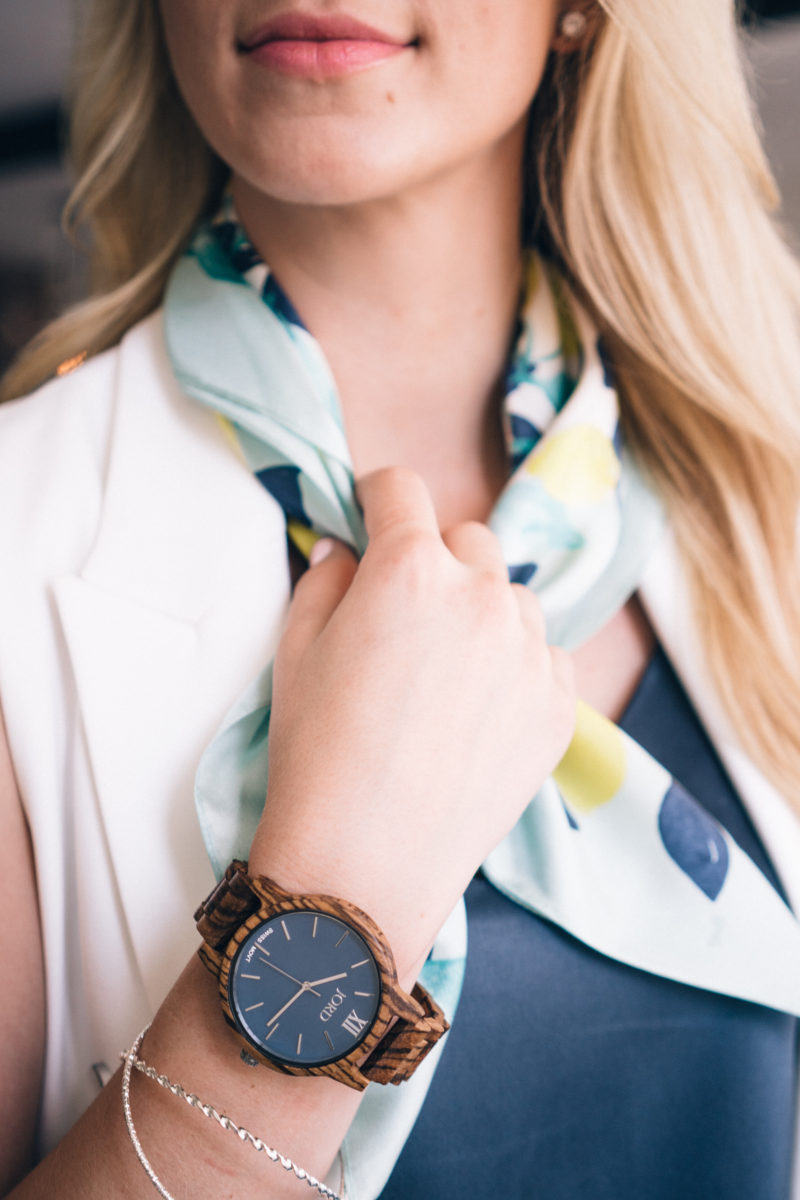 Amanda Weldon wearing Jord wooden watch